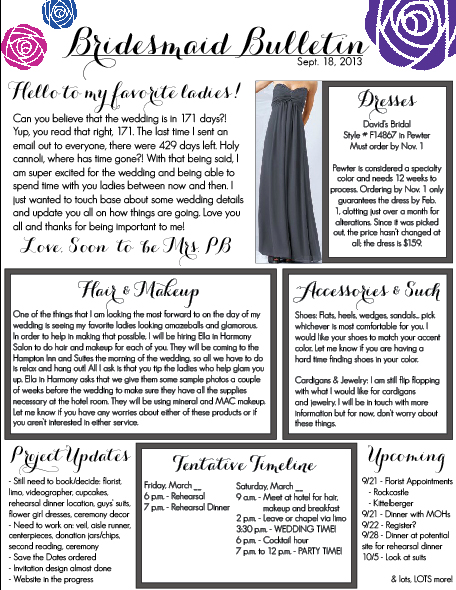 Jotting jennifer for Bridesmaid newsletter template